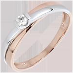 Anello Solitario Bagliore - Oro bianco - 18 carati - Diamante