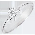 Anello Solitario Bocciolo di Edera - Oro bianco - 9 carati - Diamante - 0.21 carati