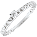 gioiello oro Anello Solitario Boreale - Oro bianco - 9 carati - 15 Diamanti - 0.16 carati - Diamante centrale 0.09 carati