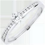 Anello Solitario Divina - 6 griffe - Oro bianco - 18 carati - 17 Diamanti - 0.25 carati