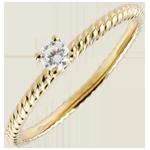Anello Solitario Fune d'Oro - Oro giallo - 18 carati - Diamante