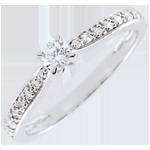 comprare on-line Anello solitario Garlane - 4 griffe - Oro bianco - 18 carati - 11 Diamanti - 0.15 carati - Diamante centrale - 0.10 carati