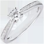regalo donna Anello solitario Garlane - 4 griffe - Oro bianco - 9 carati - 11 Diamanti - 0.30 carati - Diamante centrale - 0.25 carati