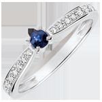 Anello solitario Garlane 4 griffes - Zaffiro 0.14 carati e Diamante - 18 carati Oro bianco.