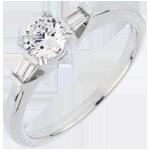 comprare on-line Anello Solitario - Luce - Oro bianco - 18 carati - Diamanti - 0.52 carati