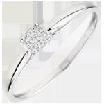 regali donne Anello Solitario - Miriade di stelle - Oro bianco - 9 carati - 7 Diamanti