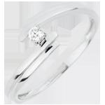 regalo Anello Solitario Nido Prezioso - Amore per Sempre - Oro bianco - 18 carati - Diamante