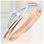matrimoni Anello solitario Nido Prezioso - Daria - Diamante 0.15 carati -Oro bianco e rosa 9 carati