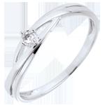 regalo donne Anello solitario Nido Prezioso - Daria - Oro bianco - Diamante 0.03 carati - 9 carati