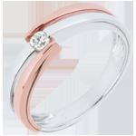 Anello solitario Nido Prezioso - Oro bianco e Oro rosa - 9 carati - Diamante