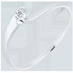 Anello solitario Nido Prezioso - Passione eterna - Oro bianco - 18 carati - Diamante
