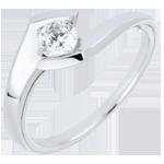 regali donne Anello Solitario Nido Prezioso - Sera d'estate - Oro bianco - 18 carati - Diamante - 0.32 carati
