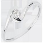 Anello Solitario Nido Prezioso - Unione D'amore - Oro bianco - 18 carati - Diamante
