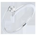 Anello Solitario Principessa Stella - Oro bianco - 18 carati - Diamante - 0.15 carati