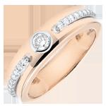 Anello Solitario Promessa - Oro rosa - 9 carati - Diamanti - 0.244 carati