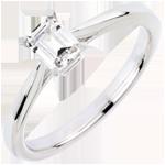 Anello Solitario Purezza taglio Smeraldo - Oro bianco - 18 carati - Diamante - 0.50 carati