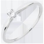 regali donne Anello Solitario Ramoscello -Oro bianco - 18 carati - Diamante