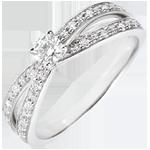 regalo donne Anello Solitario Saturno Duetto doppio diamante -Oro bianco - 18 carati - Diamanti - 0.246 carati