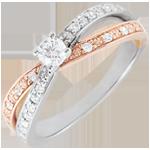 Anello Solitario Saturno Duo doppio diamante - Oro rosa e Oro bianco - 18 carati - Diamanti - 0.246 carati
