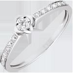 matrimonio Anello Solitario Sboccio - Peonia - Oro bianco - 18 carati - Diamanti
