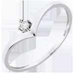 Anello Solitario Scrigno - Oro bianco - 18 carati - Diamante