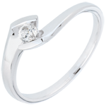 comprare on-line Anello Solitario Sera d'estate - Oro bianco - 9 carati - Diamante - 0.12 carati