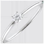 Anello solitario Sì - Oro bianco - 18 carati - Diamante 0.1 carati