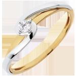 Anello Solitario Silly - Oro bianco e Oro giallo - 18 carati - 1 Diamante