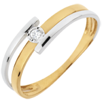 Anello Solitario Smack - Oro bianco e Oro giallo - 18 carati - 1 Diamante