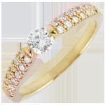 Anello solitario Trionfale - Oro giallo e Oro rosa - 18 carati - Diamanti - 0.45 carati - Diamante centrale -0.25 carati