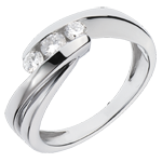 Anello trilogia Nido Prezioso - Ritornello - Oro bianco - 18 carati - 3 Diamanti - 0.32 carati