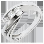 matrimoni Anello trilogia Nido Prezioso - Ritornello- Oro bianco - 18 carati - 3 Diamanti - 0.54 carati
