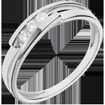 regalo donna Anello Trilogy Bipolare - Oro bianco - 18 carati - 3 Diamanti - 0.12 carati