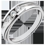 matrimoni Anello Trilogy Bipolare - Oro bianco - 18 carati - 3 Diamanti - 0.24 carati