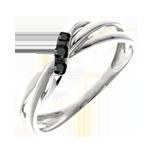 Anello Trilogy Cerchio diamanti neri - Oro bianco - 18 carati - 3 Diamanti neri - 0.056 carati