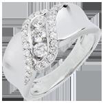 comprare on-line Anello Trilogy Destino - Sheherazade - Oro Bianco - 18 carati - Diamanti