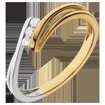 Anello trilogy Nido Prezioso- Brina- Oro giallo e Oro bianco - 18 carati - 3 Diamanti
