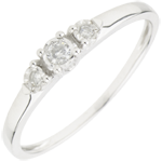 Anello Trilogy - Prima stella - Oro bianco - 9 carati - 3 Diamanti