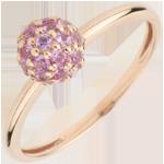 Anello Uccello del Paradiso - boule - Oro rosa - 9 carati - Zaffiro rosa