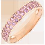 comprare on-line Anello Uccello del Paradiso - due file - Oro rosa - 9 carati - Zaffiro rosa