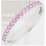 regali Anello Uccello del Paradiso - una fila - Oro bianco - 9 carati - Zaffiro rosa