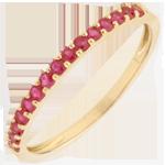 gioiello Anello Uccello del Paradiso - una fila - Oro giallo - 9 carati - Rubini
