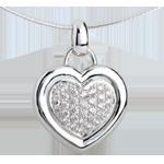 Schmuck Anhänger gerahmtes Herz in Weissgold - 0.75 Karat - 31 Diamanten