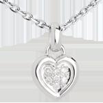 Geschenk Frau Anhänger gerahmtes Herz in Weissgold - 7 Diamanten