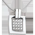 Geschenke Anhänger Karo in Weissgold - 0.24 Karat - 16 Diamanten