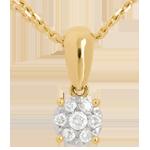 Anhänger Solitär in Gelbgold - 0.2 Karat - 7 Diamanten