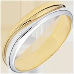 Anillo Amor - Alianza hombre de oro blanco y oro amarillo – 9 quilates