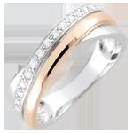 Anillo aros - oro rosa, oro blanco y diamantes