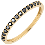 bodas Anillo Ave del Paraiso- oro amarillo y diamantes negros