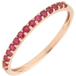 Anillo Aves del Paraíso - una fila - oro rosa 9 quilates y rubís